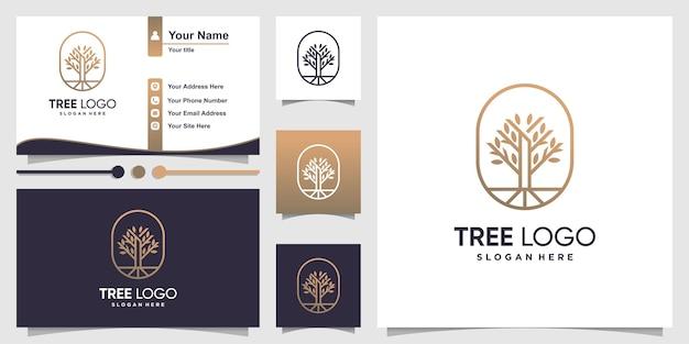 Logo dell'albero con stile di arte moderna linea e affari Vettore Premium