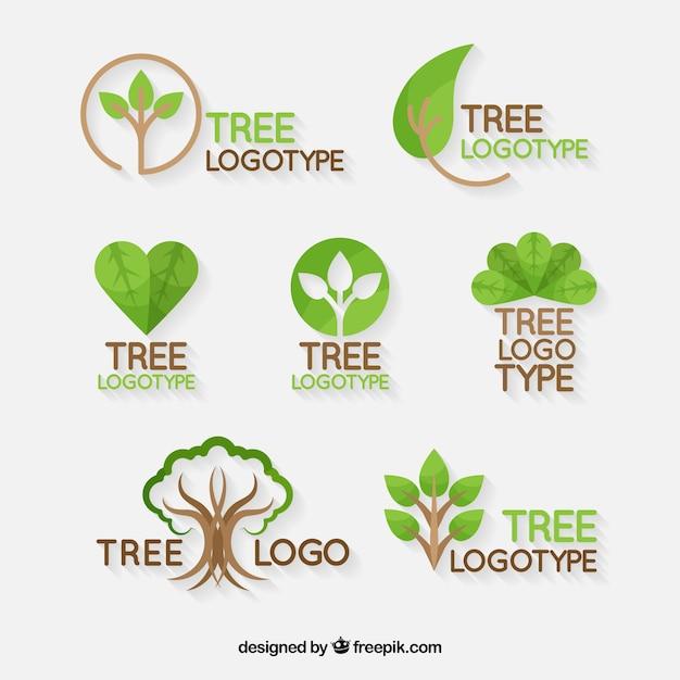 Collezione di loghi dell'albero in stile piatto Vettore Premium