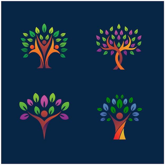Insieme di progettazione di logo della natura dell'albero Vettore Premium