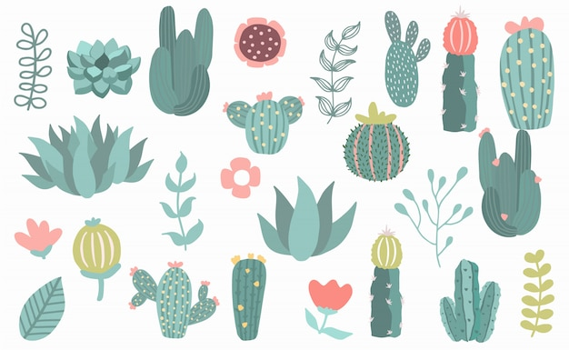 L'oggetto dell'albero ha impostato con il cactus, pianta. Vettore Premium