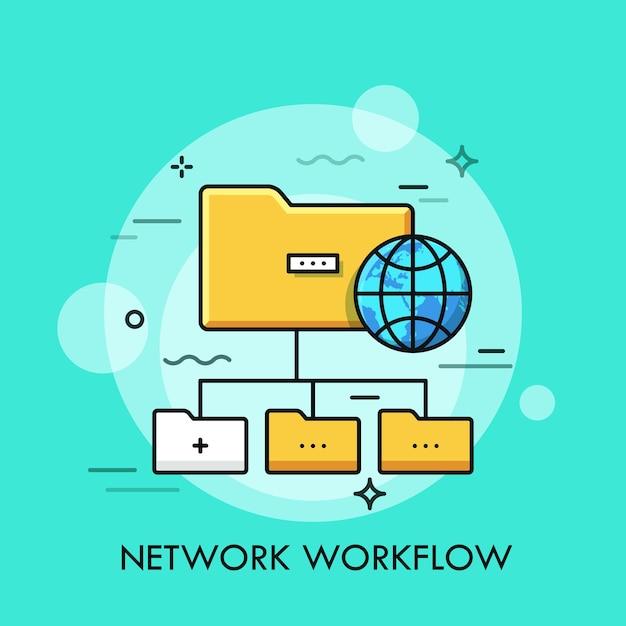 Schema ad albero con simboli di cartella gialli e globo. concetto di struttura delle directory. Vettore Premium
