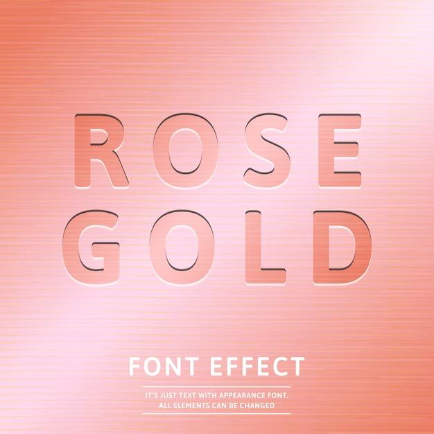 Effetto testo in stile vintage rosa bollo oro effetto grafico Vettore Premium