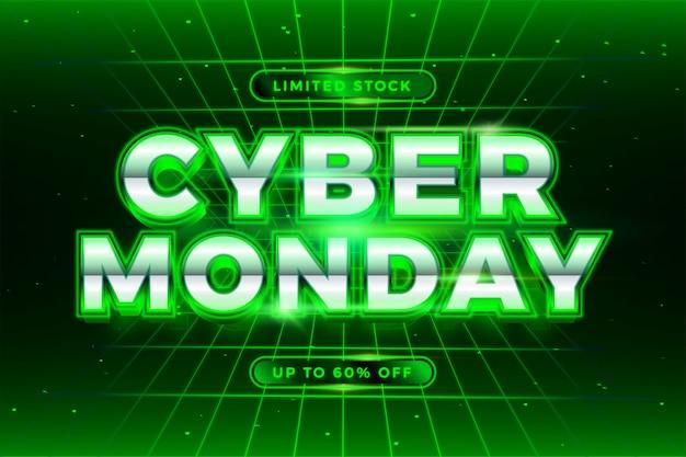 Vendita online cyber monday di promozione banner alla moda con testo verde 3d realistico Vettore Premium