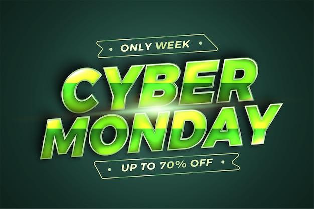 Trendy banner promozione social media online vendita cyber monday con modello realistico d green Vettore Premium