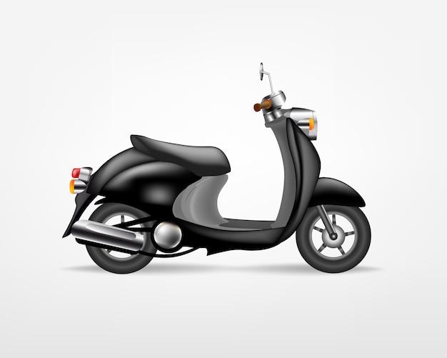 Scooter elettrico nero alla moda, su sfondo bianco. moto elettrica, modello per il marchio e la pubblicità. Vettore Premium