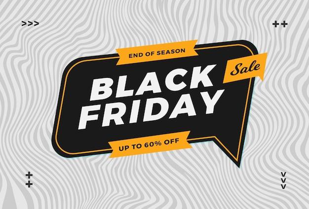 Vendita venerdì nero alla moda con sfondo onda astratta per mercato promozione flayer e banner online Vettore Premium