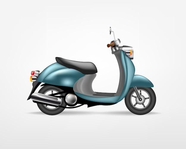 Scooter elettrico blu alla moda, su sfondo bianco. moto elettrica, modello per il marchio e la pubblicità. Vettore Premium