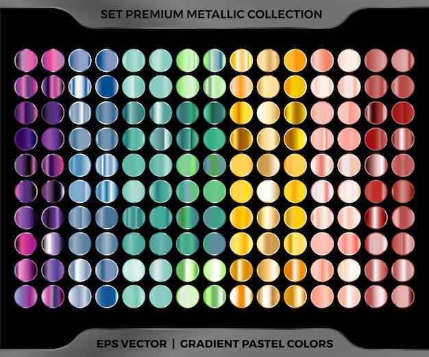 Campioni colorati alla moda oro rosa sfumato metallico, marrone oro verde viola, mega collezione di combinazioni blu Vettore Premium
