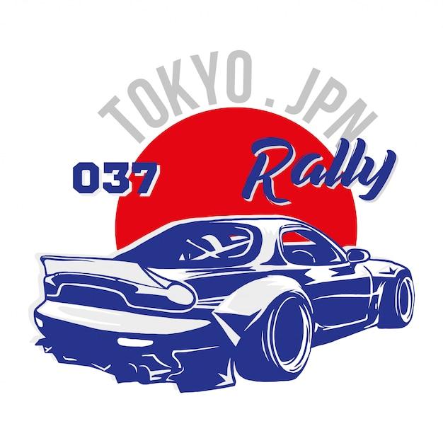 Stampa grafica di moda alla moda per l'abbigliamento della maglietta con l'auto sportiva molto veloce tokyo japan blue per la gara di speed rally. illustrazione di stile moderno per felpa di marca bomber street wear Vettore Premium