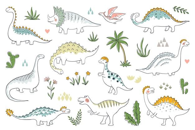 Dinosauri alla moda di doodle. set di bambini dino carino contorno, draghi divertenti del fumetto e dinosauri giurassici. Vettore Premium