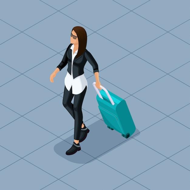 Illustrazione isometrica alla moda di persone e gadget Vettore Premium