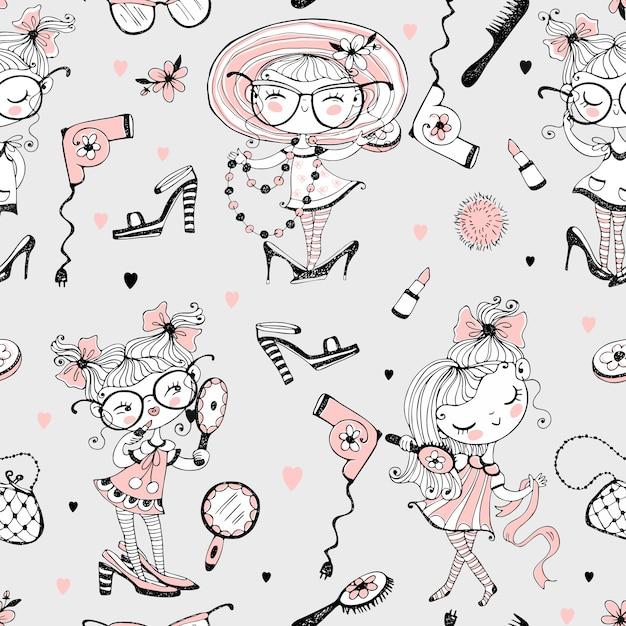 Alla moda bambine carine che vogliono sembrare adulti. le fashioniste con accessori da donna. modello senza soluzione di continuità Vettore Premium