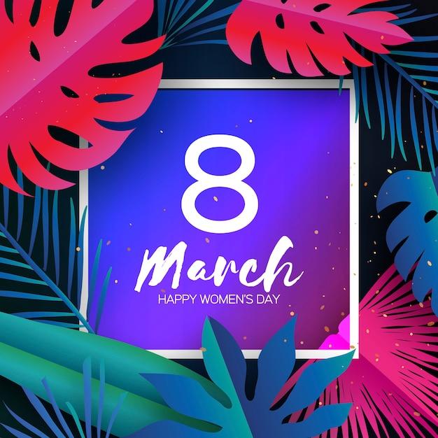 Marzo alla moda. foglie di palma tropicale, piante Vettore Premium