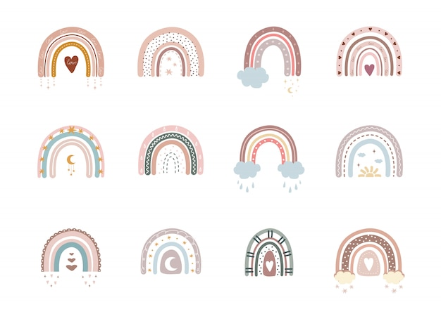 Arcobaleni alla moda in stile boho in diversi colori. Vettore Premium