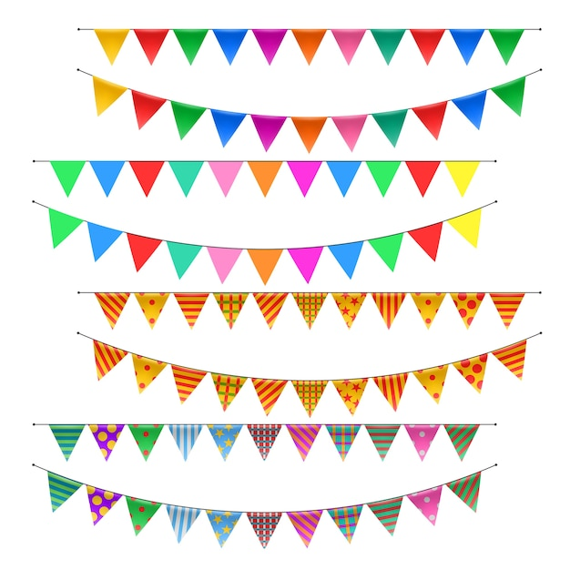 Set di bandiere di zigolo triangolo Vettore Premium