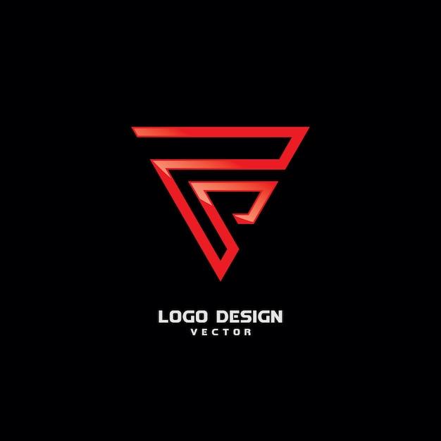 Triangolo f logo design vettoriale Vettore Premium