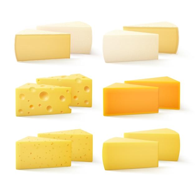 Pezzi triangolari di formaggio tipo cheddar svizzero bri parmesan camembert Vettore Premium