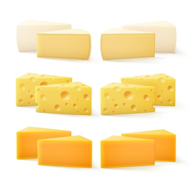 Pezzi triangolari di vari tipi di formaggio cheddar svizzero bri camembert Vettore Premium