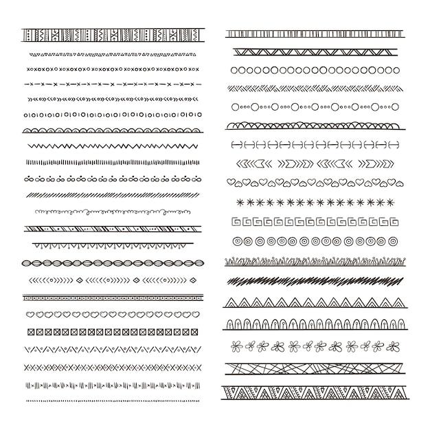 Illustrazioni di bordi tribali in stile boho. raccolta isolare. modello di ornamento tribale etnico di confine monocromatico immagini disegnate a mano Vettore Premium