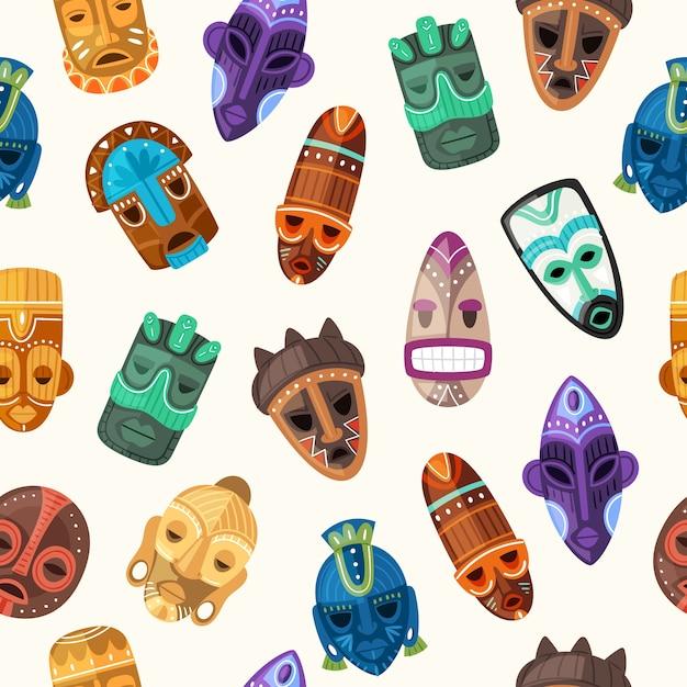 Maschera tribale etnica perfetta illustrazione del modello. maschere facciali in legno di guerrieri africani sulla testa umana o totem afro cerimoniale con ornamento di orrore antico, consistenza tradizionale Vettore Premium