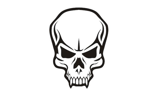 Disegno del logo tribal skull Vettore Premium