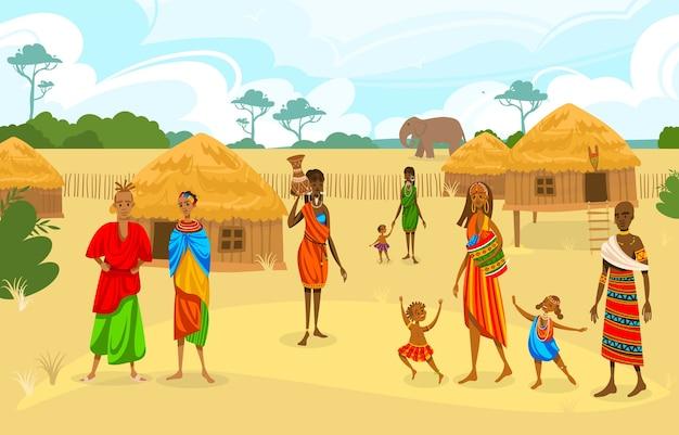 Tribù etniche in africa piatta illustrazione vettoriale. cartoon donna africana con brocca, personaggio afro in costume tradizionale tribale, in piedi vicino a etnico Vettore Premium