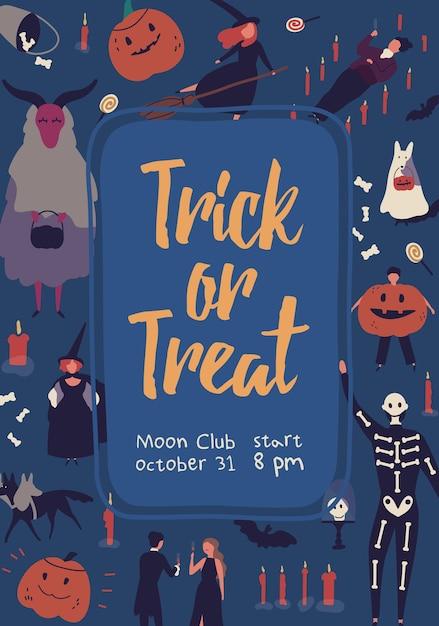 Dolcetto o scherzetto, modello di poster festa in maschera di halloween. design di carta invito club luna Vettore Premium