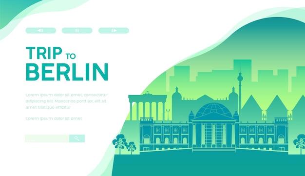 Viaggio al modello di pagina di destinazione di berlino Vettore Premium