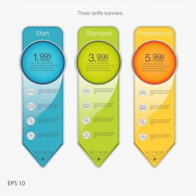 Triplo banner per l'hosting. tre banner tariffari. tabella dei prezzi web. per l'app web. stile freccia. Vettore Premium