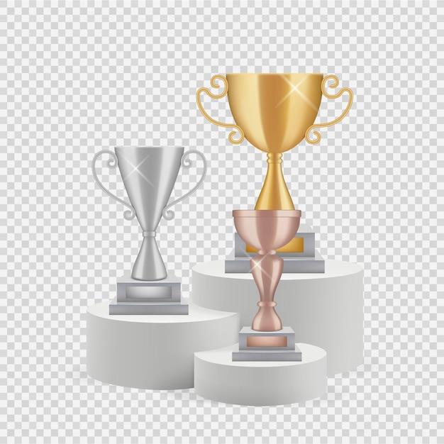 Trofeo sul podio. coppe d'oro, argento e bronzo isolate su sfondo trasparente. Vettore Premium