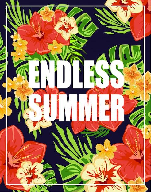 Sfondo tropicale con scritte estive senza fine Vettore Premium