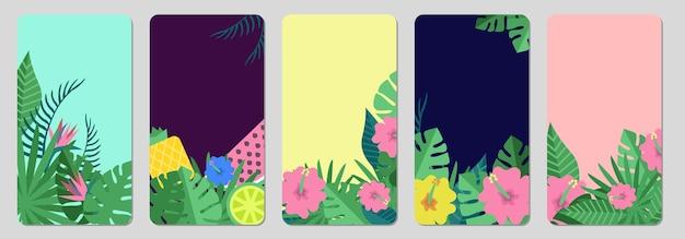 Bandiere tropicali. foglie esotiche, modello di storie sui social media di frutta. Vettore Premium