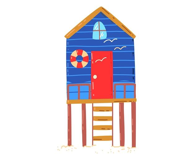 Casa sulla spiaggia tropicale, vacanze estive attive e calde, capanna al mare, illustrazione di stile del fumetto di progettazione, isolata su bianco. palma verde vicino al cottage, riposa sull'isola, accogliente edificio in legno Vettore Premium