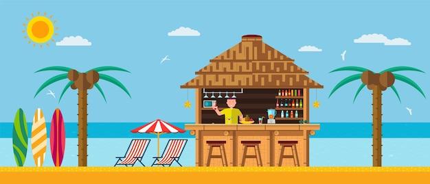 Spiaggia tropicale con bar sulla spiaggia, vacanze estive sulla sabbia calda con acqua limpida. Vettore Premium