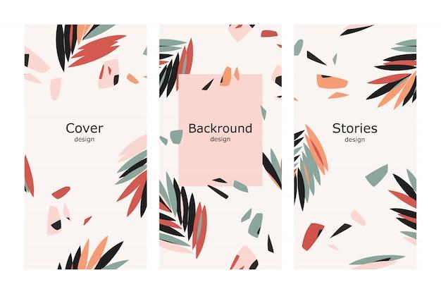 Design tropicale con foglie di palma per storie Vettore Premium