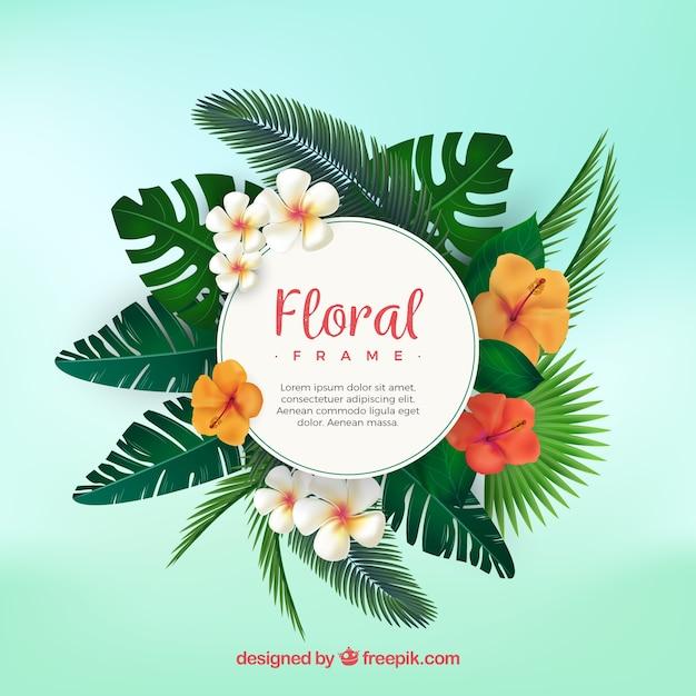 Cornice floreale tropicale con design piatto Vettore Premium