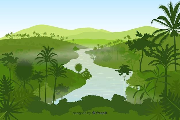 Sfondo paesaggio foresta tropicale Vettore Premium