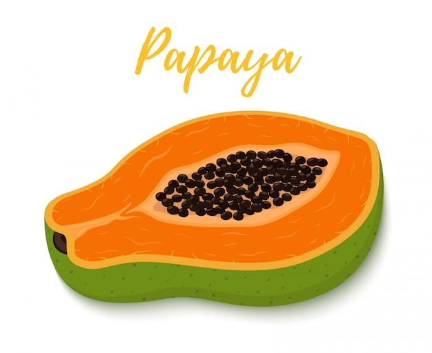 Frutta tropicale - metà della papaia con polpa d'arancia Vettore Premium