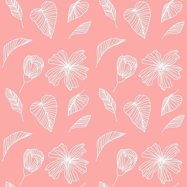 Modello tropicale rosa e bianco geometrico Vettore Premium