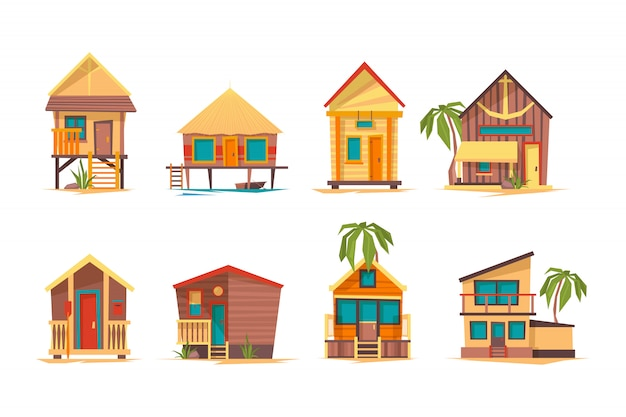 Case tropicali. bungalow spiaggia edifici isola casa per la raccolta di immagini di vacanze estive Vettore Premium