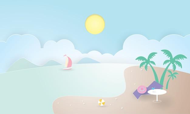 Isola tropicale con palme. montagne, oceano blu, ora legale, taglio della carta Vettore Premium