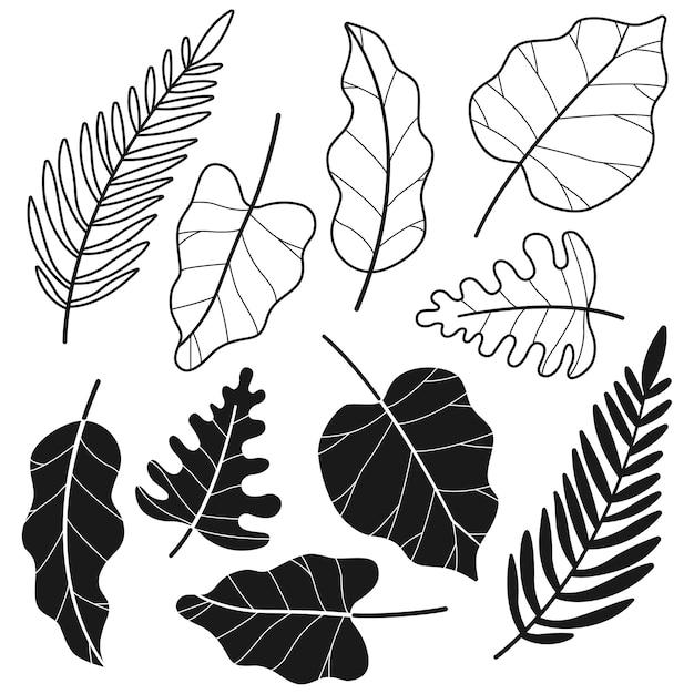 Siluette nere del fumetto della foglia della giungla tropicale messe isolate su un fondo bianco. Vettore Premium