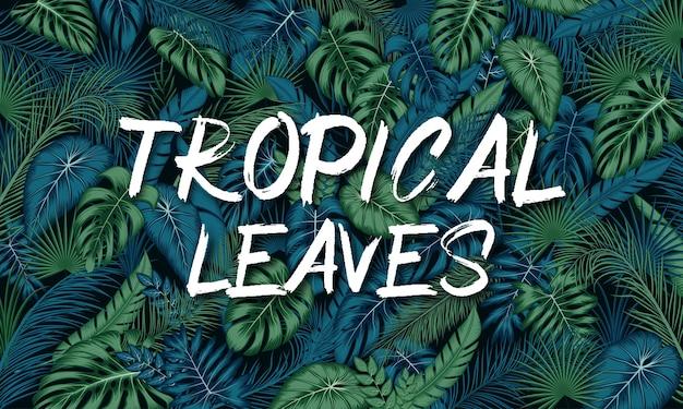 Sfondo di foglie tropicali con piante della giungla Vettore Premium