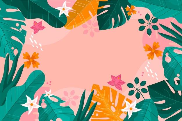 Sfondo di foglie tropicali per lo zoom Vettore Premium