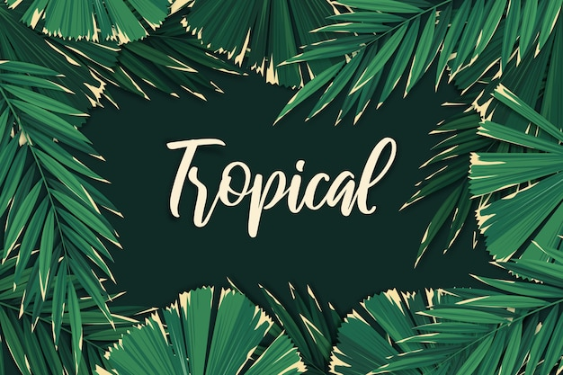 Lettering tropicale lascia sfondo Vettore Premium