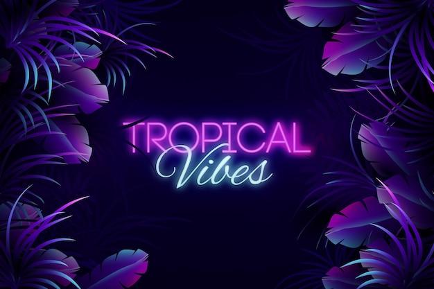 Iscrizione al neon tropicale con sfondo di foglie Vettore Premium