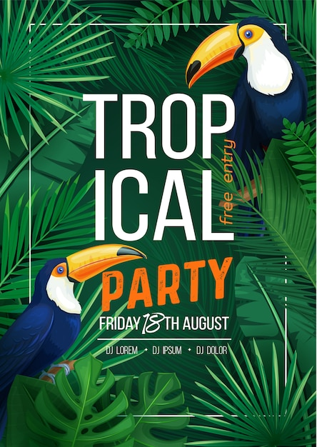 Festa tropicale Vettore Premium