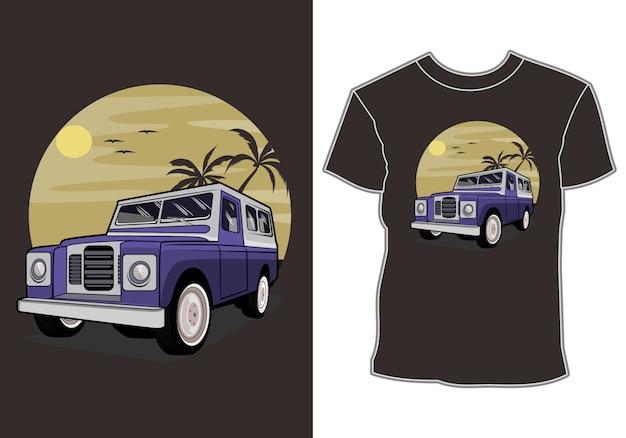 Auto per le vacanze tropicali e design della camicia per le vacanze estive al tramonto Vettore Premium