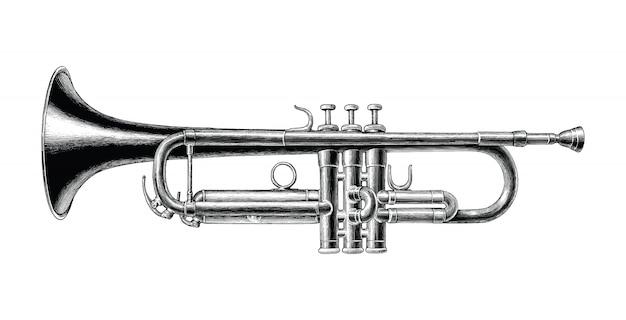 Clip art in bianco e nero di stile d'annata di tiraggio della mano della tromba isolata Vettore Premium