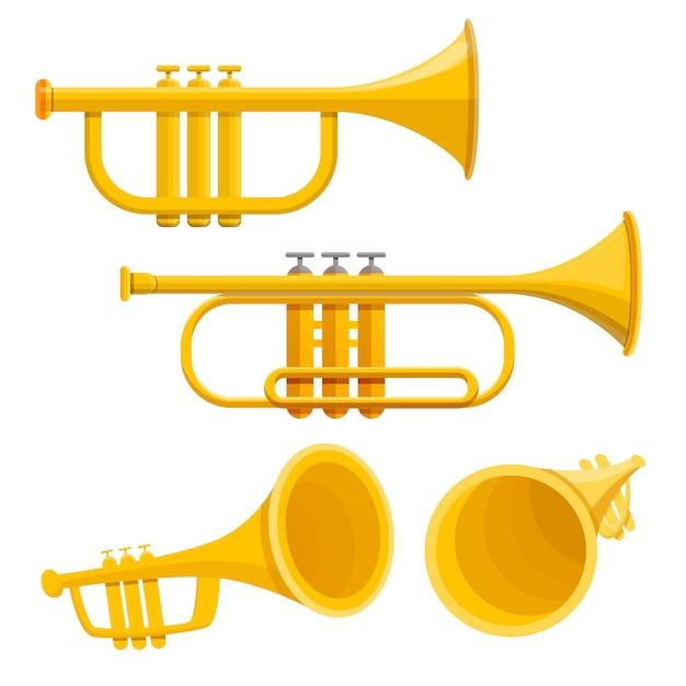 Set di icone tromba, stile cartoon Vettore Premium